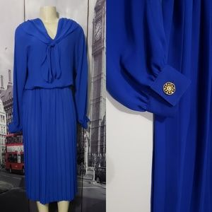 Leslie Fay Collection Vintage Blue Dress Pleated